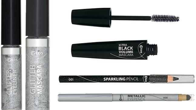 Etos Glitter Eyeliner & Mascara € 2.99 p/s - Etos X-tra Black Volume Mascara € 4.06 - Etos Sparkling Pencil nr. 001 € 3.04 - Etos Metallic Eyepencil nr. 008 € 3.04