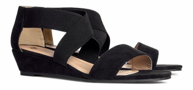 Sandalen met elastieken banden, zwart - € 24.95