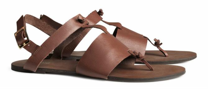 Sandalen van leer, bruin - € 24.95